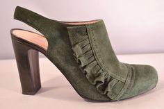 $350 Nanette Lepore Green Suede Slingback Ruffled Heels Pumps Mules Size 7 1/2 #NanetteLepore #Slingbacks #WeartoWork