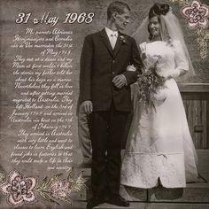 My parents wedding photo. Heritage layout, digital scrapbook layout, genealogy layout, family history month