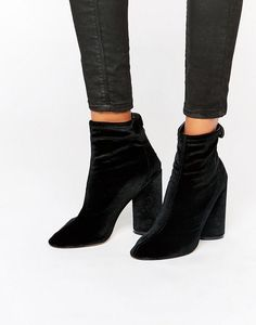 Public Desire Lia Velvet Heeled Ankle Boots