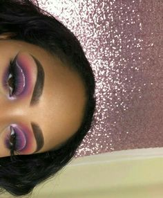 Purple and pink toned eyeshadow glam