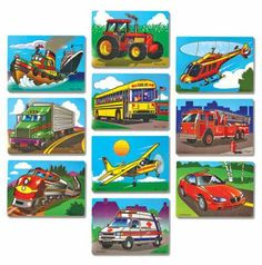 "Ten favorite first vehicles are colorfully depicted ""on the go"" in these wooden jigsaw puzzles.  There's a hardworkin' tug boat, a school bus full of children, a train full of passengers and many more!  With 10 - 13 pieces in each puzzle, small hands can easily remove (and replace) each piece."