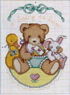 Cross-stitch Baby is, part 1... no color chart available, just use pattern chart as your color guide.. or choose your own colors...