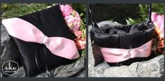 Black Satin Ring PIllow & Flower Girl Basket with Pale Pink Satin Sash & Rhinestone Buckle