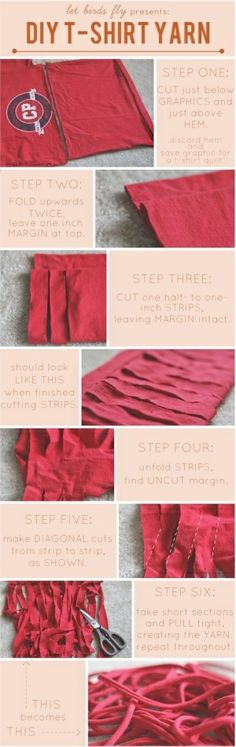Make yarn from a tee shirt!! Can't wait to try this with the old tee shirts I've inherited!.
