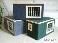 Blue Beaded Cat House Wooden Cat Furniture Unique by Kittenique