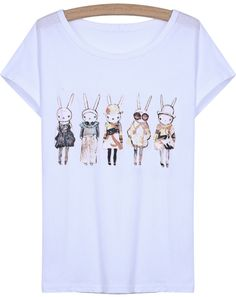 White Short Sleeve Cartoon Rabbit Print T-Shirt - Sheinside.com