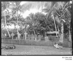 85/1284-1435 Photographic negative, American and British graves, H.M.S. Royalist and U.S.S. Philadelphia, gelatin / glass, photographer unknown, published by Kerry and Co., Upolu, Samoa, April - May, 1899 - Powerhouse Museum Collection