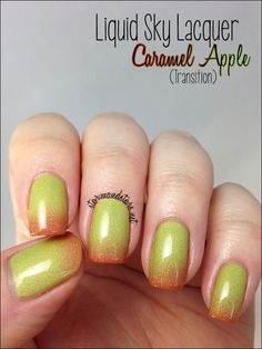 Caramel Apple is thermal #polish. It shifts from a gorgeous granny smith green to a deep yummy caramel color. #nails #nailart