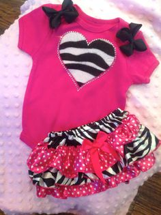 zebra and hotpink polka dot 2 piece outfit set by crocheting4ever, $30.00 (possible take home outfit for Delaney)