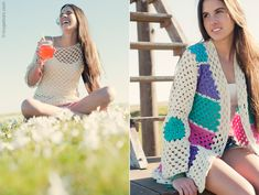 Hippie Crochet, Crochet Coat, Diy Clothing, Knitting, Fabric, Sweaters, Jackets, Handmade, Outfits