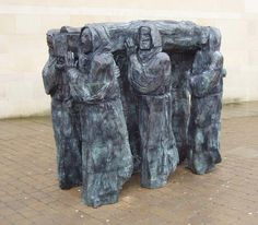 "Bronze sculpture of St Cuthbert's ""Journey""/   This bronze statue of Lindisfarne monks carrying St.Cuthbert's body"