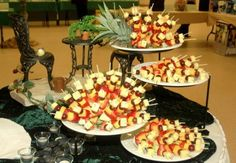 fruit and cheese skewer platters