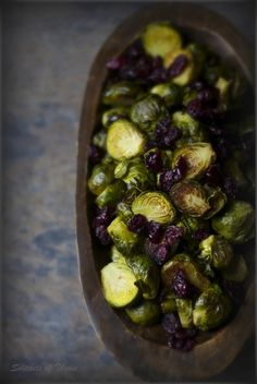 Roasted Brussel Sprouts with Cranberries and Balsamic Vinegar