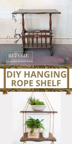 Diy Resin Furniture, Upcycled Furniture, Painted Furniture, Primitive Furniture, Refurbished Furniture, Antique Furniture, Diy Furniture Appliques, Homemade Wall Decorations, Hanging Rope Shelves