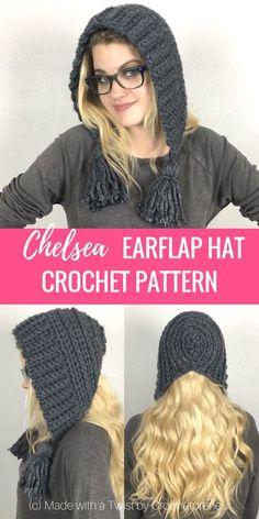 Chapeau Chelsea Earflap Hat Crochet Pattern - Made with a Twist Crochet Hat Earflap, Bonnet Crochet, Crochet Motifs, Free Crochet, Crochet Style, Crocheted Hats, Crochet Hooded Scarf, Modern Crochet Patterns, Ravelry Crochet