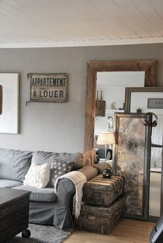 MY STYLE : This is a look I could live with! :: GOOD IDEA: Layering mirrors to fill up an empty space