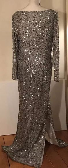 NWT Scala Detailed Silver Sequin Long Sleeve full length Chic Vntg Gown #Scala #Formal