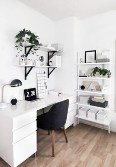 58 Trendy Home Office Inspiration Ideas Lamps Room Ideas Bedroom, Bedroom Desk, Home Decor Bedroom, Decor Room, Diy Bedroom, Bedroom Small, White Desk Bedroom, Home Office Bedroom, Design Bedroom