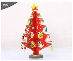 "Christmas Decoration For Home Wooden Xmas Tree Figurines & Miniatures Snow Man Bells Pendant Ornaments Christmas Gifts (Red) Size (9.05""x 5.51"") / (23cmx14cm) -- Awesome products selected by Anna Churchill"