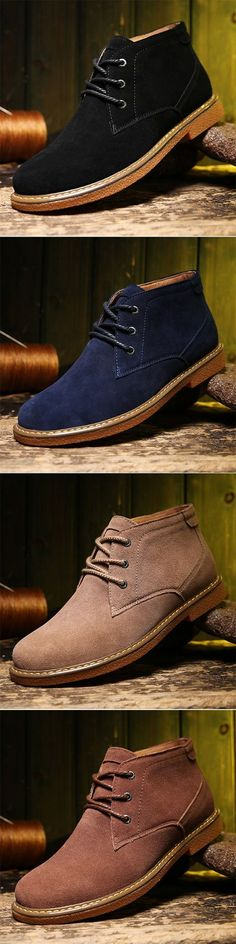 US$44.99#Men Classic Metal Eyelets Nubuck Lace Up Ankle Boots