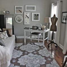 Sherwin Williams- Mindful Gray paint. Our Master Bedroom Paint Color.  Love rug and color scheme.