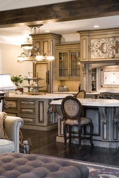 Love this Sage green antique finish on cabinets
