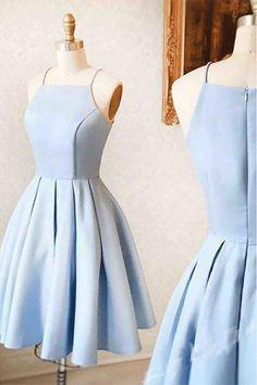 Princess Evening Dresses, Light Blue A-line/Princess Prom Dresses, Light Blue Satin Simple Homecoming Dress,Short/Mini Cute Prom/Evening Dress #eveningdresses #minidresses #cutepromdresses #homecomingdresses2018