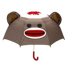 Keep yourself dry and out of the rain with this awesome sock monkey umbrella! Featuring a red pom pom top, lovable monkey ears and that classic, recognizable sockmonkey face! Check out our FAQ page fo