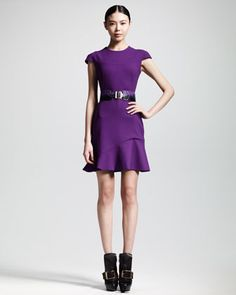 Wool Crepe Flounce Dress & Two-Tone Python Belt by Alexander McQueen at Bergdorf Goodman.