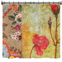 Vintage Floral Grunge Shower Curtain  69 x 70 by susanakame1, $89.00