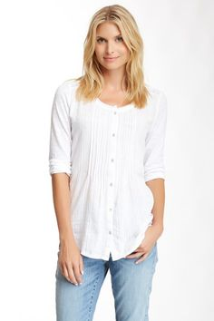 Pleated Button Blouse by DKNY on @HauteLook