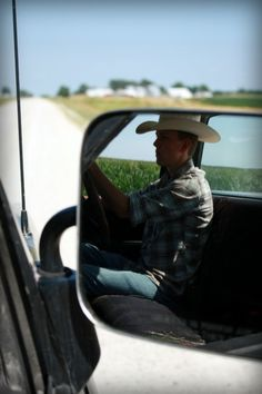 Now, I want to know why the lucky lady taking this picture is smushed all the way up against the passenger door when she could be smushed against her cowboy. That is the beautiful thing about bench seats, ladies!