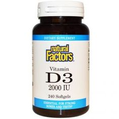 Natural Factors, Vitamin D3, 2000 Iu, 240 Softgels, Diet Suplements 蛇