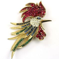 Trifari 'Alfred Philippe' 'Firebirds' Invisibly Set Rubies Rooster's Head Pin in Jewelry & Watches, Vintage & Antique Jewelry, Costume, Designer, Signed, Pins, Brooches | eBay