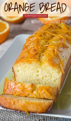 This flavorful Orange Bread is guaranteed to cure your winter blues Soaked with the freshly made orange syrup it s incredibly moist and tender This orange loaf is also really easy to make and uses only staple ingredients found in every pantry Yummy Recipes, Loaf Recipes, Quick Bread Recipes, Easy Bread, Sweet Recipes, Baking Recipes, Dessert Recipes, Yummy Food, Orange Bread Recipes