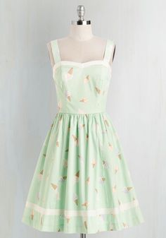 Favorite frozen treat? Check. Favorite vintage-inspired ensemble? Check! A ModCloth exclusive, this pistachio-green frock by Bea & Dot boasts a sweetheart neckline, white trim, and a delightful array of pastel-hued ice cream cones for style that's simply divine!