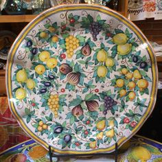 Tuscan Fruit and Bees Large Platter - Italian handpainted ceramics