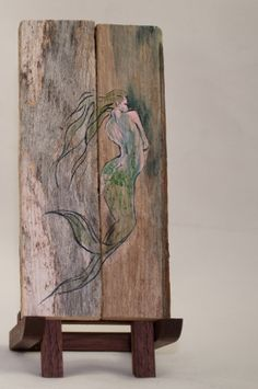 A little Mermaid for sale on Etsy, hand painted on upcycled lobster trap wood