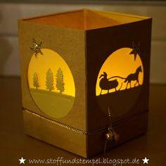 Stoff und Stempel: Weihnachtliches Windlicht mit Anleitung und Einladung zum Sternenzauber