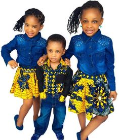 Love the girls Jean tops African Attire, African Wear, African Dress, African Babies, African Children, African Inspired Fashion, African Print Fashion, Toddler Fashion, Kids Fashion