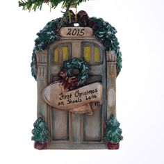 Red Front Door Personalized Christmas Ornament  New Home Family