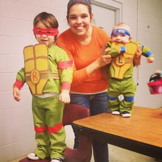 DIY teenage mutant ninja turtle costume. I spray painted clothes for the right color(non toxic) painted card board, and hot glued Velcro!!