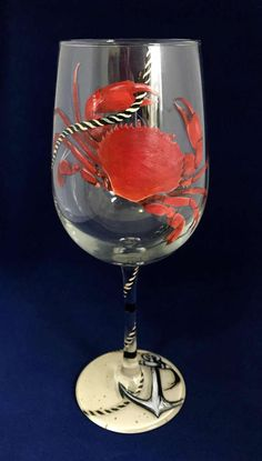 Dungeness Crab Red Hand Painted Wine Glass Anchor Nautical Home Decor Tiki Bar West Coast Beachy Island Fishing Crabbing Unique Gift Barware