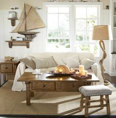 nautical themed decorating with boat models