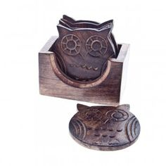 Sass & Belle Owl Wooden Coaster Set - Sass & Belle from Mollie and Fred UK