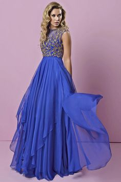 2015 Scoop Prom Dress With Golden Beads And Embroidery Pick Up Layered Chiffon Skirt USD 149.99 LDPN5KCL38 - LovingDresses.com