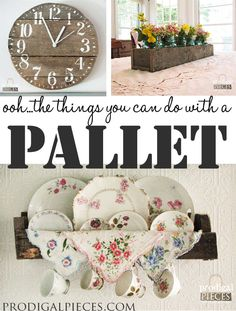 Don't pass by that cast-off pallet! It's got potential for a clock, plate rack, and centerpiece. Come see how! by Prodigal Pieces www.prodigalpieces.com #prodigalpieces