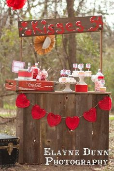 It would make a great photo prop. Kissing booth for Valentines, lemonade stand for summer, hot cocoa booth for winter and tattoo stand. Valentine Mini Session, Valentine Picture, Valentines Day Photos, Valentine Day Love, Valentines Day Party, Valentinstag Party, Valentine's Day Quotes, Holiday Fun, Holiday Crafts