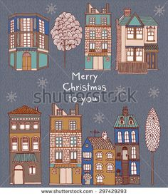 Christmas greeting card with winter landscape and snow-covered village - vector illustration - stock