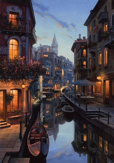 Venice Italy Illustration ✰✭  PLEASE NOTE: This image is a GIF - Animated Pin ✭ Please click on the play button to view ✭✰